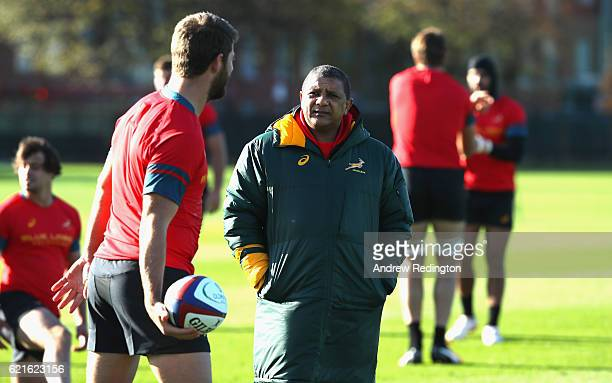 South Africa head coach Allister Coetzee keeps an eye on the session during a South Africa training session at The Latymer Upper School playing...