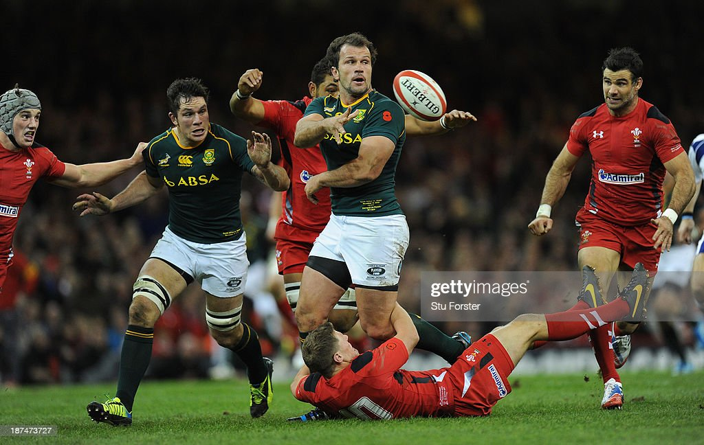 South Africa hooker Bismarck Du Plessis makes a break to set up the first South Africa try during the International Match between Wales and South Africa at the Millennium Stadium on November 9, 2013 in Cardiff, Wales.
