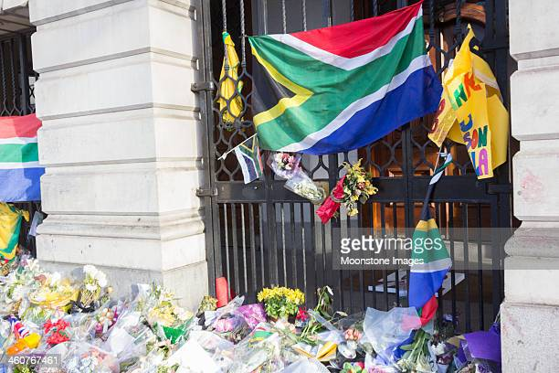 south africa house in trafalgar square, london - south african flag stock photos and pictures