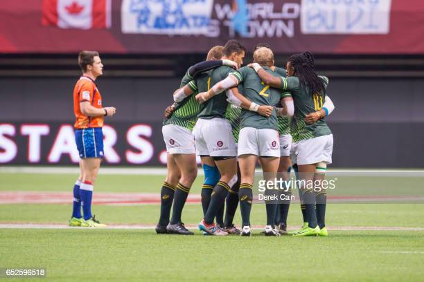 South Africa huddle up prior to their match against the USA during day 2 of the 2017 Canada Sevens Rugby Tournament on March 12 2017 in Vancouver...