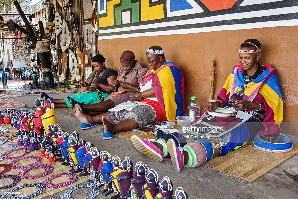 South Africa Johannesburg Lesedi Lodge Cultural Village Zulu Xhosa Pedi Basotho Ndebele Tribeswoman Making Beads