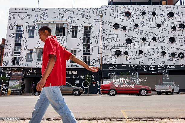South Africa Johannesburg Maboneng District Commissioner Street Arts on Main gentrified urban neighborhood Rocket Factory building residential mural...