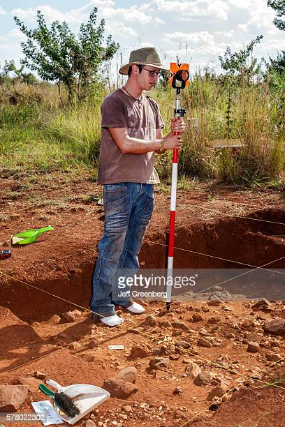South Africa Johannesburg Maropeng hominin site human ancestor Cradle of Humankind World Heritage Site archaeologist working dig University of the...