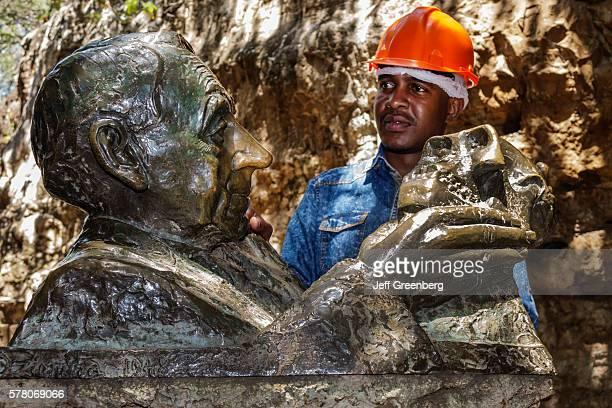 South Africa Johannesburg Muldersdrift Sterkfontein Caves hominin site human ancestor Cradle of Humankind cave Robert Broom bust sculpture statue man...