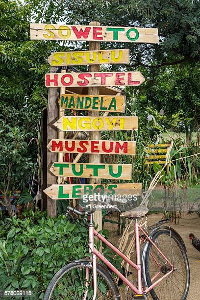 South Africa Johannesburg Soweto Lebo's Backpackers Hostel sign directional directions