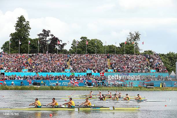 South Africa lead Great Britain and Denmark as Australia slip outside of the medal postions during the Lightweight Men's Four final on Day 6 of the...