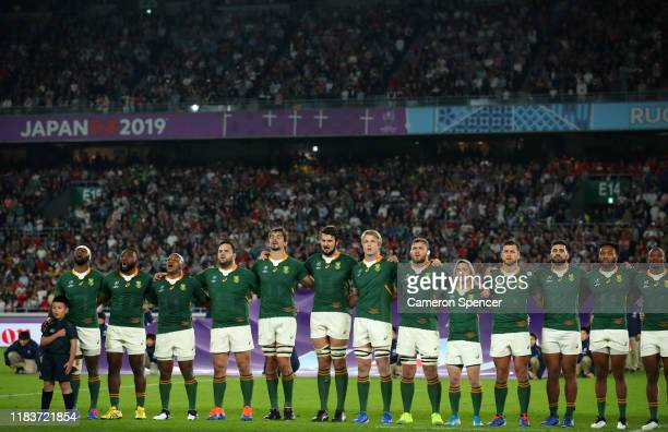 South Africa line up for the national anthem during the Rugby World Cup 2019 SemiFinal match between Wales and South Africa at International Stadium...