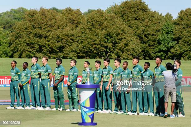 South Africa line up for their national anthem prior to the ICC U19 Cricket World Cup match between Pakistan and South Africa at Hagley Oval on...