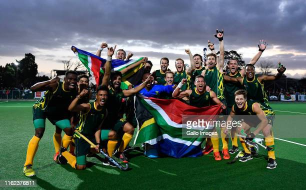 South Africa men celebrating after winning the Men's Olympic qualifier match between South Africa and Egypt at Stellenbosch University Astro on...