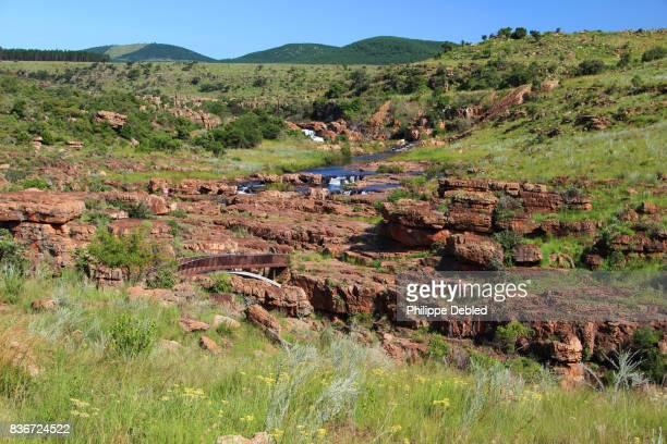 South Africa, Mpumalanga Province, Graskop, Blyde River Canyon, Bourke's Luck Potholes, Footbridge over Treur river
