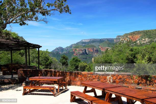 South Africa, Mpumalanga Province, Graskop, Blyde River Canyon, Three Rondavels view point