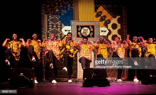 South Africa musician Joseph Shabalala leads his group Ladysmith Black Mambazo as they perform mbaqanga and iscathamiya songs at the Luther Burbank...