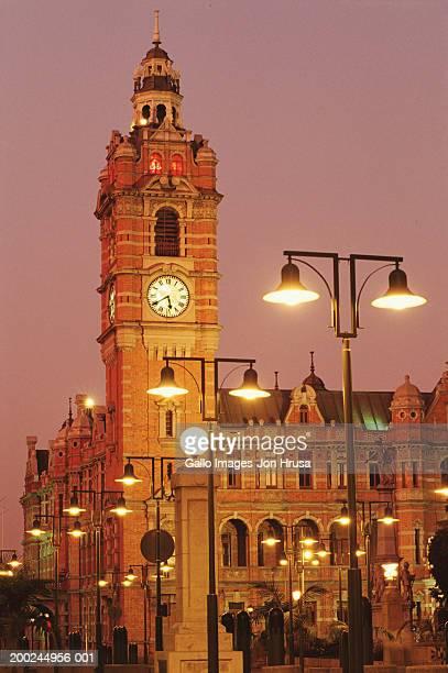 south africa, pietermaritzburg, city hall at dusk - pietermaritzburg stock pictures, royalty-free photos & images