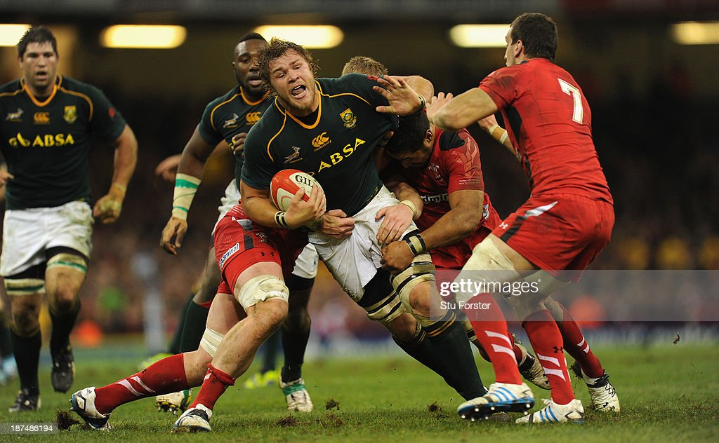 South Africa player Duane Vermeulen makes a break during the International Match between Wales and South Africa at the Millennium Stadium on November 9, 2013 in Cardiff, Wales.