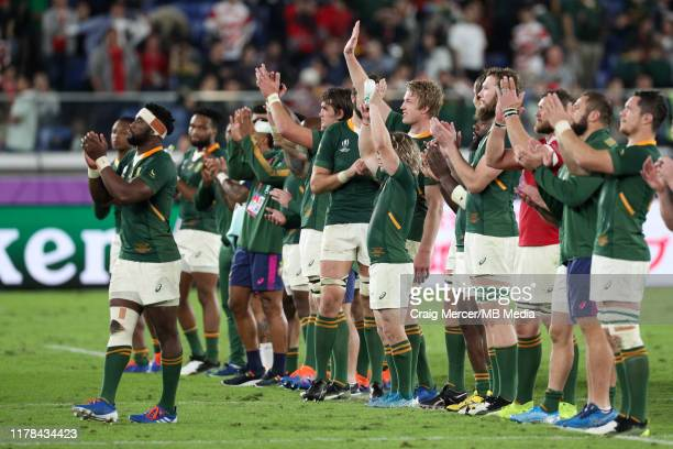 South Africa players acknowledge the crowd after the Rugby World Cup 2019 SemiFinal match between Wales and South Africa at International Stadium...