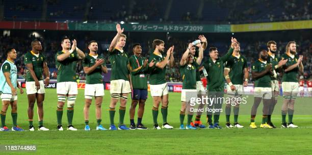 South Africa players acknowledge the crowd following their team's victory in the Rugby World Cup 2019 SemiFinal match between Wales and South Africa...