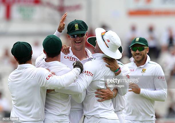 South Africa players celebrate a wicket during day 5 of the 2nd Test match between South Africa and England at PPC Newlands on January 06 2016 in...