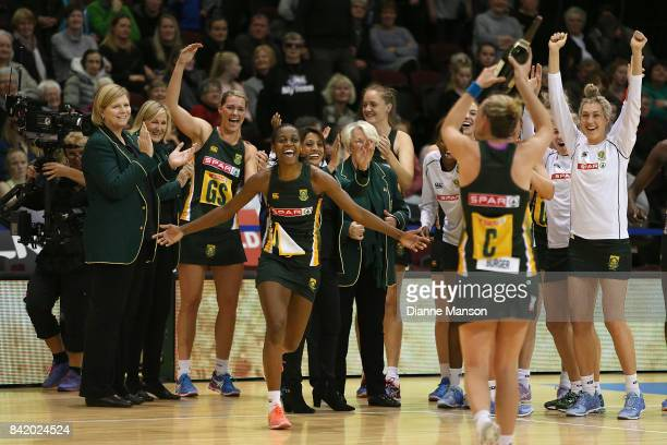 South Africa players celebrate defeating England in the 2017 Quad Series match between the England Roses and the South Africa Proteas on September 3...