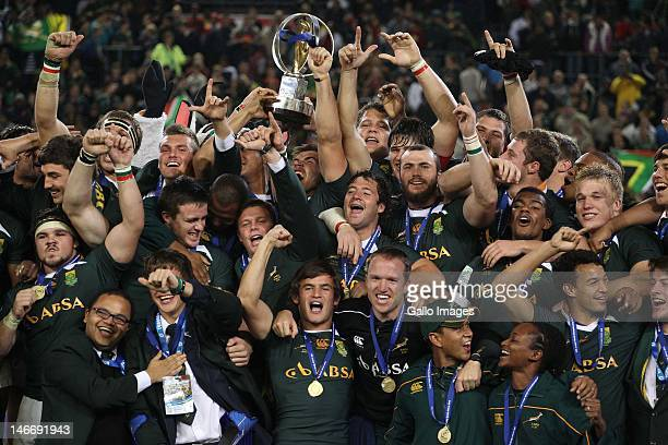 South Africa players celebrate during the trophy presentation of the IRB Junior World Championships final match between South Africa and New Zealand...
