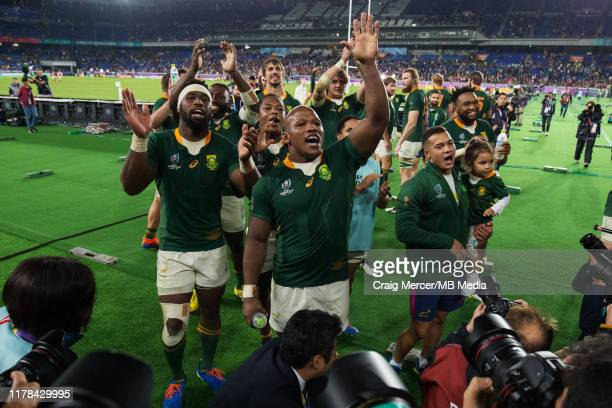 South Africa players celebrate victory and acknowledge the crowd after the Rugby World Cup 2019 SemiFinal match between Wales and South Africa at...