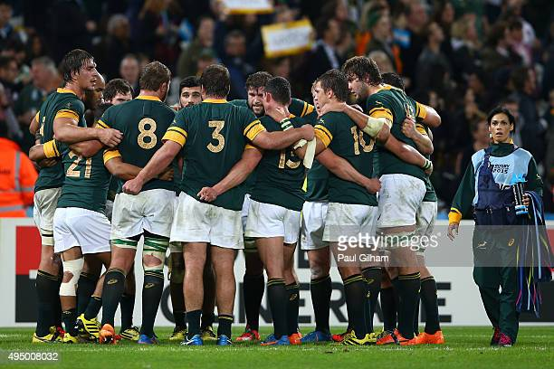 South Africa players huddle after the 2015 Rugby World Cup Bronze Final match between South Africa and Argentina at the Olympic Stadium on October 30...