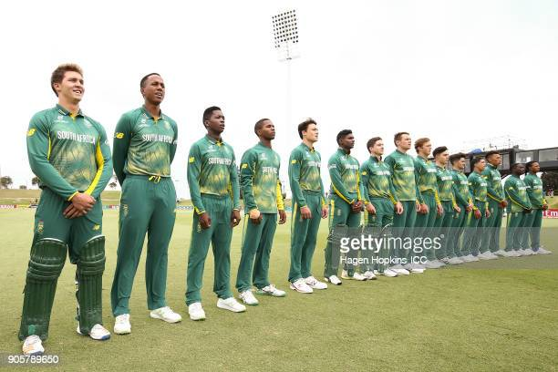South Africa players line up for the national anthemduring the ICC U19 Cricket World Cup match between the West Indies and South Africa at Bay Oval...