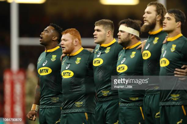South Africa players line up prior to the International Friendly match between Wales and South Africa on November 24 2018 in Cardiff United Kingdom