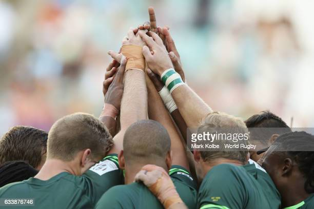 South Africa players prepare for kickoff in the Cup Final match between England and South Africa in the 2017 HSBC Sydney Sevens at Allianz Stadium on...
