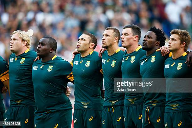 South Africa players sing the national anthem ahead of the 2015 Rugby World Cup Pool B match between South Africa and Japan at the Brighton Community...