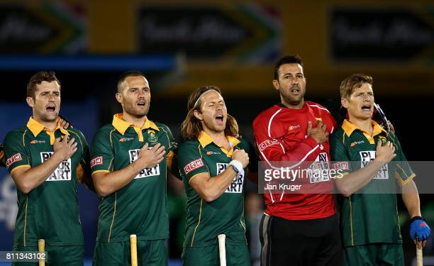 South Africa players sing their national anthem during day 1 of the FIH Hockey World League Semi Finals Pool B match between South Africa and Ireland...