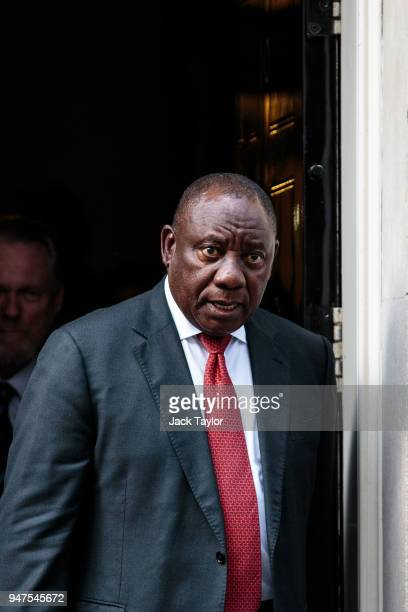 South Africa President Cyril Ramaphosa leaves Number 10 Downing Street following a meeting with British Prime Minister Theresa May on April 17, 2018...