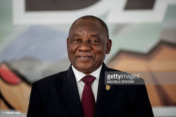 South Africa President Cyril Ramaphosa looks on from the stage at the Miki Yili Stadium, Makhanda, Eastern Cape Province, ahead of the celebrations...