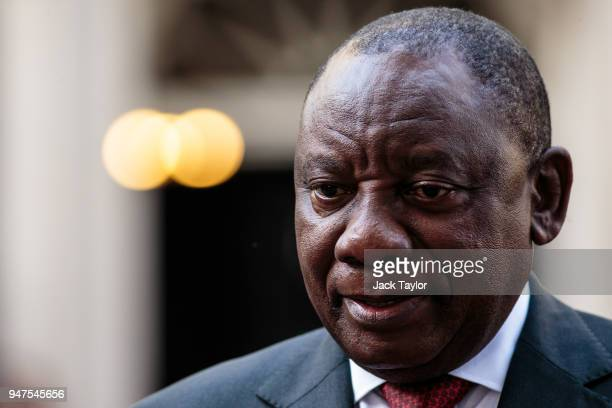 South Africa President Cyril Ramaphosa speaks to the media in Downing Street following a meeting with British Prime Minister Theresa May on April 17,...