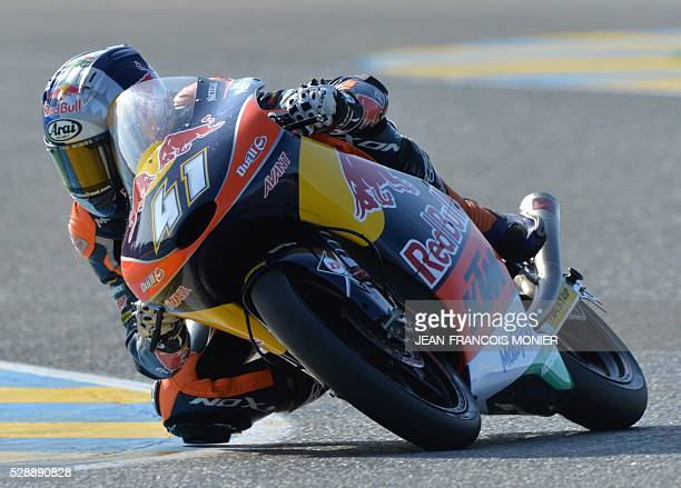 South Africa rider Brad Binder competes on his Red Bull KTM Ajo N 41 and clocked the second position during the Moto3 qualifying cession of the...