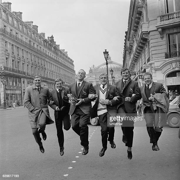 South Africa Rugby Union players during a Tour in Europe Here on avenue de l'Opera