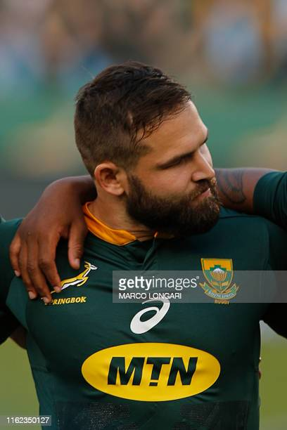 South Africa scrum half Cobus Reinach stands during the national anthems ahead of the 2019 Rugby Union World Cup warm-up test match between South...