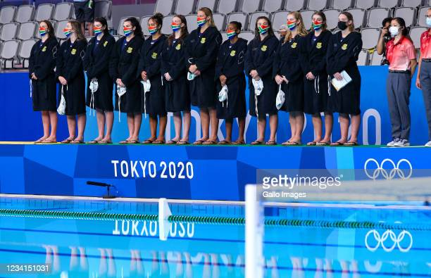 South Africa sing the national anthem during the preliminary round between South Africa and Spain of the Water Polo event on Day 1 of the Tokyo 2020...