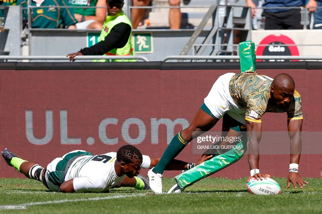 South Africa Siviwe Soyizwapi scores a try during the Zimbabwe vs