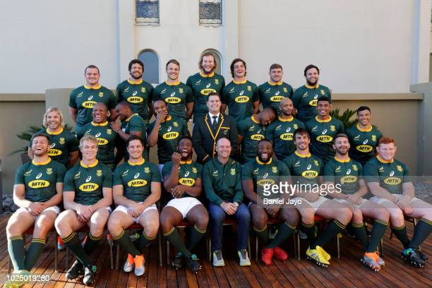 South Africa squad pose for a team group photo before the The Rugby Championship 2018 match against South Africa at Sheraton Mendoza Hotel on August...