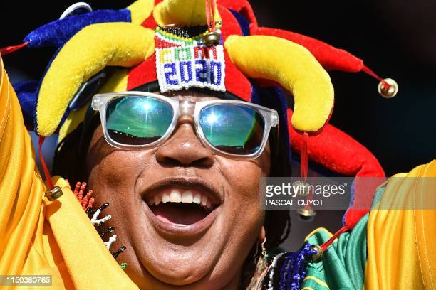 South Africa supporter cheers prior to the France 2019 Women's World Cup Group B football match between South Africa and Germany, on June 17 at the...