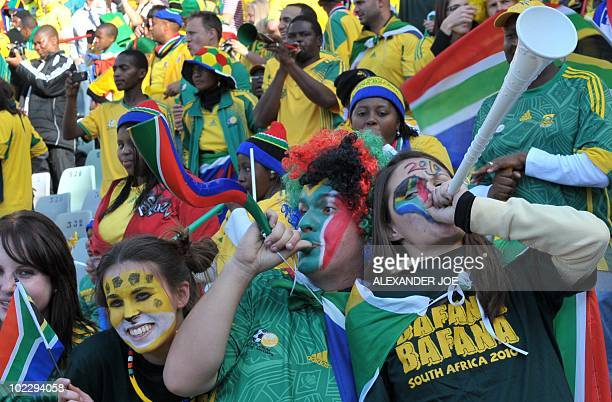South Africa supporters cheer prior to the start of the Group A first round 2010 World Cup football match France vs South Africa on June 22 2010 at...