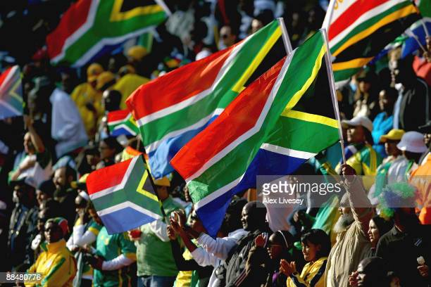 South Africa supporters prior to the opening match of the FIFA Confederations Cup between South Africa and Iraq at Ellis Park Stadium on June 14 2009...