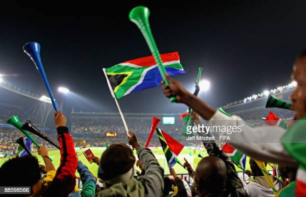 South Africa supporters react during the FIFA Confederations Cup match between Spain and South Africa at the Free State stadium on June 20, 2009 in...