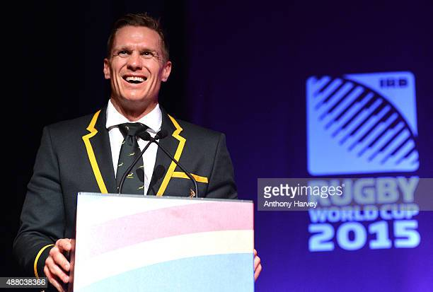 South Africa team captain Jean de Villiers attends the South Africa 2015 World Cup team welcoming ceremony at the Winter Gardens on September 13 2015...