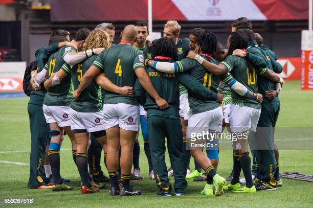 South Africa team huddle after a loss to England in the Cup Final on day 2 of the 2017 Canada Sevens Rugby Tournament on March 12 2017 in Vancouver...