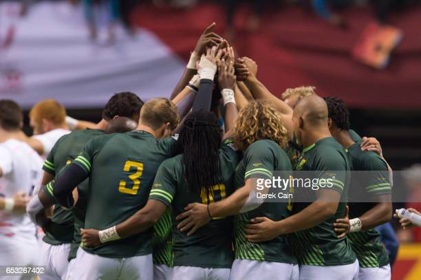 South Africa team huddles up prior to their match agains England in the Cup Final on day 2 of the 2017 Canada Sevens Rugby Tournament on March 12...