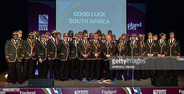 South Africa team pose for a family photo at the South Africa 2015 World Cup team welcoming ceremony at the Winter Gardens on September 13 2015 in...