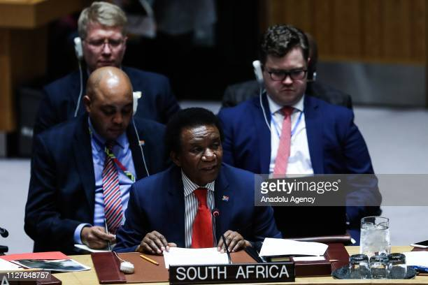 South Africa UN Ambassador Jerry Matthews Matjila makes a speech during the Security Council on the situation in Venezuela at the United Nations...