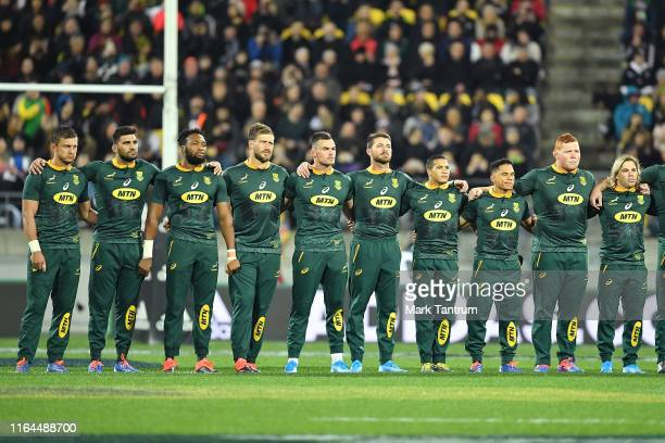 South Africa watch the New Zealand Haka before the 2019 Rugby Championship Test Match between New Zealand and South Africa at Westpac Stadium on July...