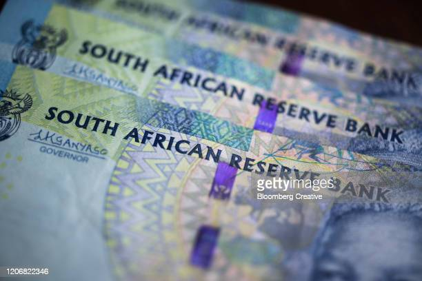 south african 100 rand banknotes - south africa stock pictures, royalty-free photos & images